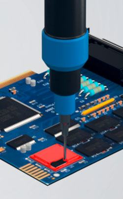 Filling of electronic components with preeflow dispenser in a silicone dam and fill application