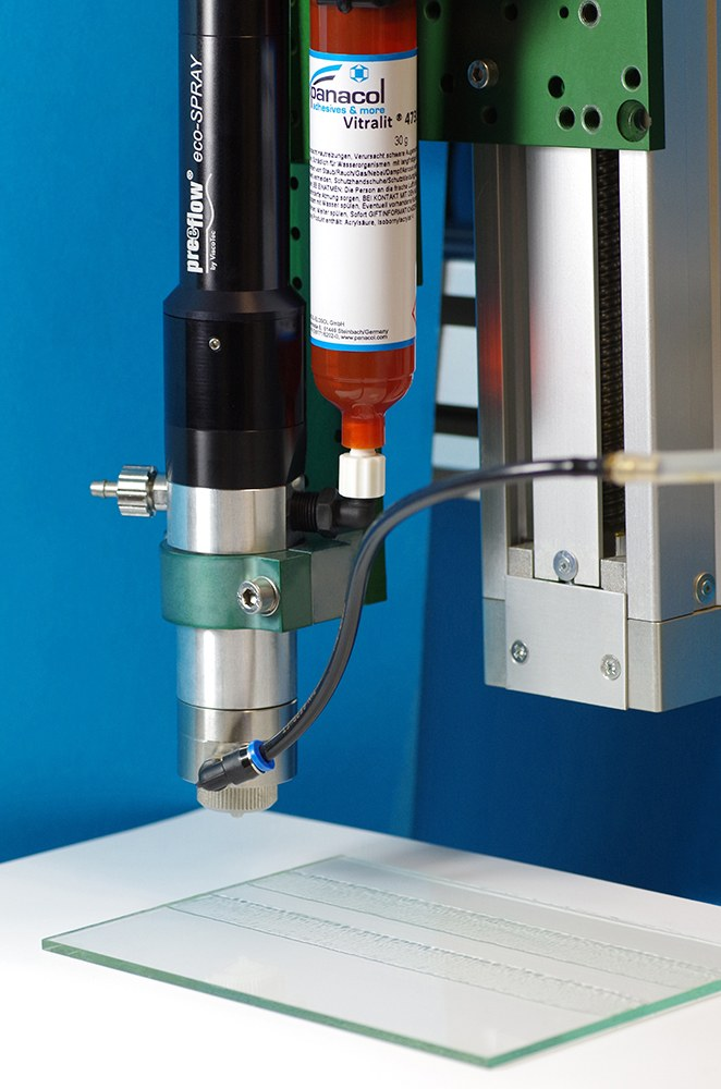 Spray system eco-SPRAY for the application of Panacol adhesives - for maskings and conformal coatings.